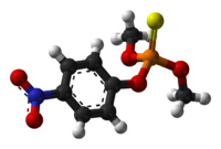 Ball-and-stick model of the methyl parathion molecule