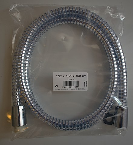 A shower hose sold in Germany with metric length (150cm) and imperial ( /2-inch) fittings. Metric length shower hose with imperial fittings.jpg