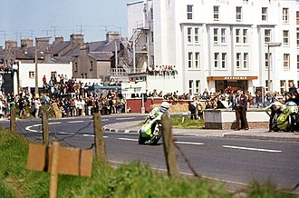 North West 200 - Mick Grant passes the Railway Bank at Metropole Corner, Portrush, 1975