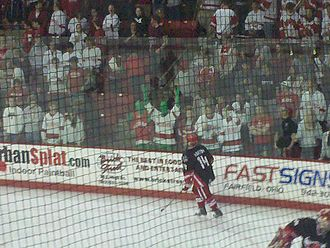 Miami RedHawks - Miami fans gather before a hockey game against Nebraska-Omaha.