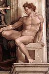 Michelangelo Sistine Chapel - Ignudo above Erythraean Sibyl.jpg