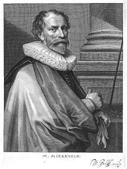 Black and white engraving of Van Mierevelt wearing a colar and mantle