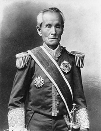 Higashikuze Michitomi - Higashikuze, in the European-style court dress of a count and wearing his Order of the Rising Sun with Paulownia Flowers