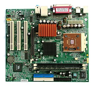 A photo of a microATX motherboard with an AMD ...