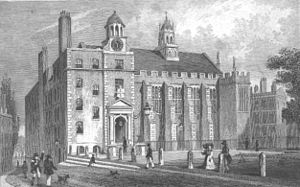 Middle Temple - Part of Middle Temple, c. 1830, as drawn by Thomas Shepherd. The great hall is beneath the cupola.