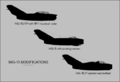 Mikoyan-Gurevich MiG-15 variant silhouettes (UTIP, UTI, cannon).png
