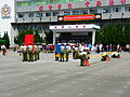 Military Police School Cadets Taking Barriers and Traffic Cones Leave Ground after Exercise Completed 20120908.jpg