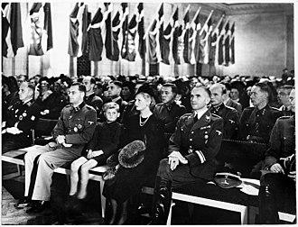 Werner Best - Best participating in the commemoration for fallen members of the Schalburg Corps, Copenhagen 17 October 1943.