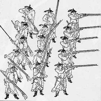 Shenjiying - Ming musketeers. The Chinese military organized their musketeers in three lines, the one in front fired while the two in the back reloaded and handed them to the first line.
