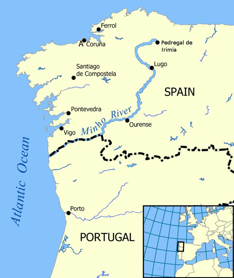 Карта на течението на Мињо