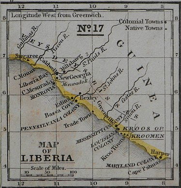 Map of Liberia Colony in the 1830s, created by the ACS, and also showing Mississippi Colony and other state-sponsored colonies. (Wikipedia)