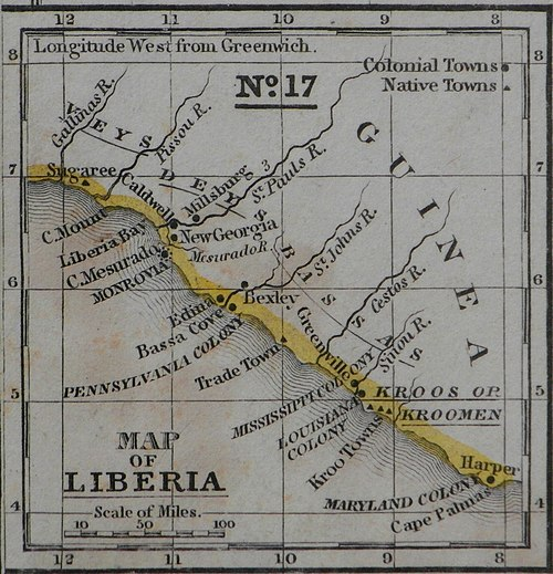 Map of Liberia Colony in the 1830s, created by the ACS, and also showing Mississippi Colony and other state-sponsored colonies. Mitchell Map Liberia colony 1839.jpg