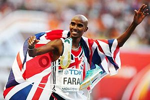 2013 World Championships in Athletics - Mo Farah of Great Britain, winner of the 5,000m and 10,000m
