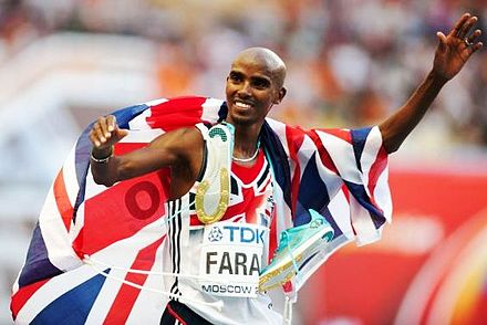 Mo Farah is the most successful British track athlete in modern Olympic Games history, winning the 5000 m and 10,000 m events at two Olympic Games Mo Farah (2) Moscow 2013.jpg
