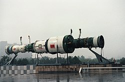 Model of Salyut-7 with two Soyuz spacecrafts.JPEG