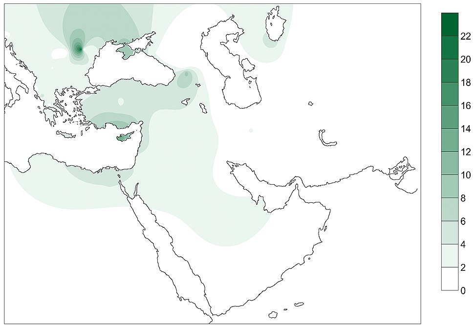 Modern distribution of the haplotypes of PPNB farmers