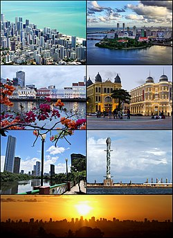 Frae upper left: Auld centre o Recife; Recife an its bridges; Aereal View o Boa Viagem Beach; Boa Viagem Beach; The Crystal Touer; Capibaribe River; The neighborhuid o Boa Viagem; Agamenon Magalhães Avenue; Recife Sunset.