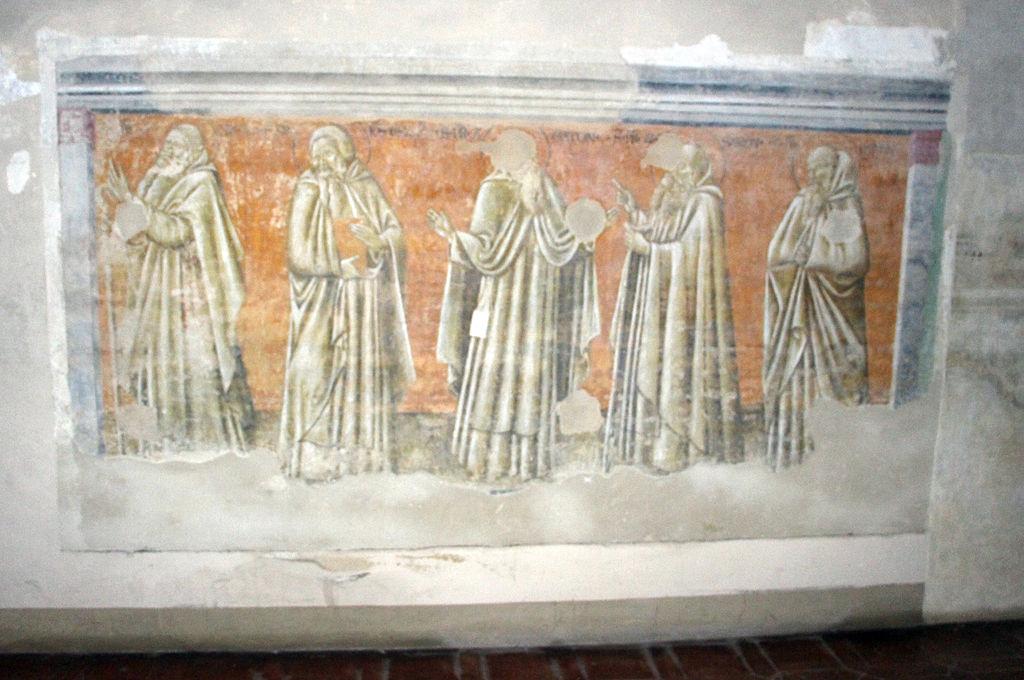 Monte oliveto maggiore, passaggio tra chiostro e chiesa, ignoto senese, miracolo di san benedetto, 1440 (attr. giovanni di paolo)