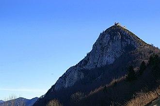 Hilltop castle - Château de Montségur on a hilltop