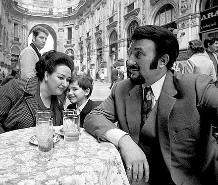 Caballe with husband and son, at Galleria Vittorio Emanuele II, Milan, 1971 Montserrat Caballe, Bernabe Marti and son 1971c.jpg