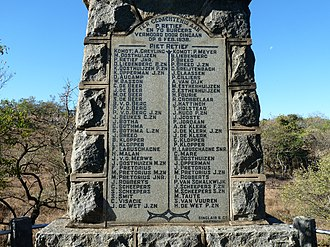 Piet Retief Delegation massacre - Monument to the massacre on 'Moordkoppie' (Murder Hill).