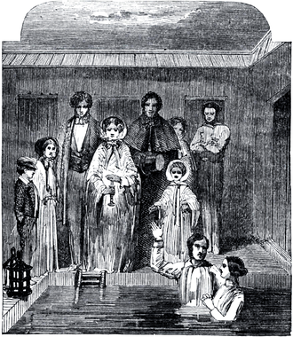 Baptism in Mormonism - Mormon baptism ceremony, circa the 1850s