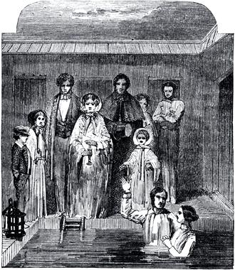 Baptism in Mormonism - Mormon baptism ceremony, circa the 1850s