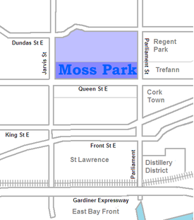 The Moss Park towers all lie south of Shuter St, but the area north to Dundas is also sometimes considered part of the neighbourhood
