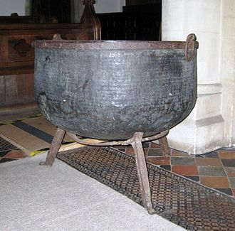 Mother Ludlam's Cave - Mother Ludlam's Cauldron in Frensham church