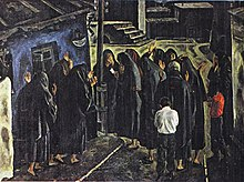 """Mothers' Black Shawls"". Oil on canvas. 1,20 x 1,60m. 1978."