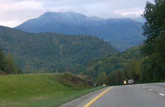 Interstate 40 in Tennessee - I-40 near mile 441, with Mount Cammerer rising in the distance