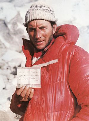 Leszek Cichy - Leszek Cichy in winter 1980, after first winter ascent of Mount Everest, presents note which  Ray Genet left on top of Mount Everest in 1979.