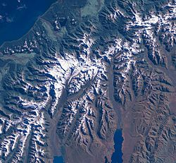 The Aoraki/Mount Cook area from LandSat. The Tasman Glacier is at top right