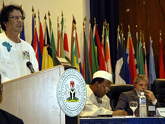 Pan-Africanism - Muammar Gaddafi at the first Africa-Latin America summit in 2006 in Abuja, Nigeria.