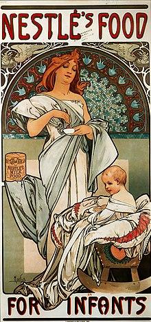 Nestlé, alimenti per bambini. Un manifesto pubblicitario di Alfons Mucha del 1897.
