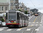 Muni Metro trains on Taraval at 24th and 27th Avenues, June 2017.JPG