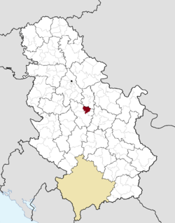 Location of the municipality of Rača within Serbia