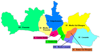 Sestri Ponente - The Medio Ponente (municipio) administrative district is the westernmost of the yellow areas.