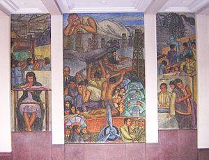 """Museum of Antioquia - Murals of Pedro Nel Gómez located in the Museum of Antioquia.  From left to right ¨""""de la Bordadora a los Telares"""", mural """"el Problema del Petróleo y la Energía"""" and the mural """"el Trabajo y la Maternidad""""."""