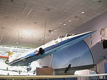 YF-104A hanging in museum in NASA livery