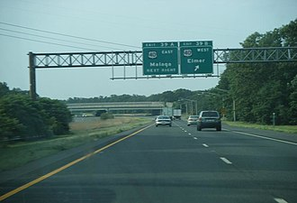 U.S. Route 40 in New Jersey - Exit for US 40 along southbound Route 55 in Franklin Township.