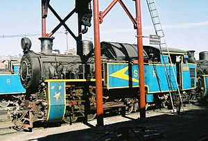 Nilgiri Mountain Railway X class - Nilgiri Mountain Railway locomotive No.37395 at Coonor Shed, February 2005