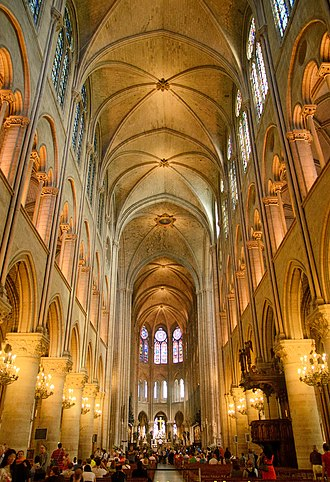 Notre-Dame in May 2012. From top to bottom, nave walls are pierced by clerestory windows, arches to triforium, and arches to side aisles. NOTRE DAME DE PARIS May 2012.jpg