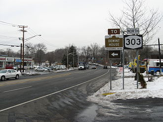 New York State Route 303 - Northbound on NY 303 just north of the state line in Tappan