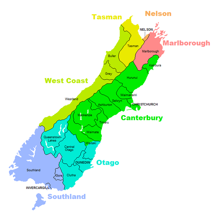 NZ Territorial Authorities South Island