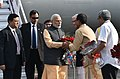 Narendra Modi being received by the Governor of Gujarat and Madhya Pradesh, Shri O.P. Kohli, the Chief Minister of Madhya Pradesh, Shri Shivraj Singh Chouhan and the Union Minister for Defence, Shri Manohar Parrikar (1).jpg