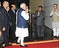 Narendra Modi being welcomed on arrival at the Silver Jubilee Celebration Ceremony of NASSCOM, in New Delhi. The Union Minister for Communications & Information Technology.jpg