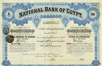 National Bank of Egypt - Share warrant of the National Bank of Egypt, issued 17. April 1899