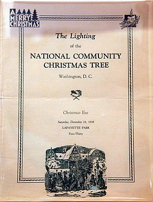National Christmas Tree (United States) - Program for the 1938 tree lighting ceremony, which marked the last time the National Christmas Tree ceremony was held in Lafayette Park.