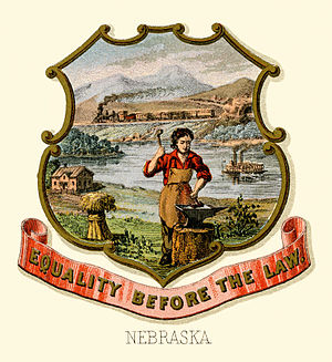 Seal of Nebraska - Nebraska state historical coat of arms (illustrated, 1876)